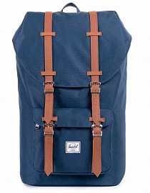HERSCHEL рюкзак LITTLE AMERICA MID-VOLUME Navy/Tan Synthetic Leather, 17l