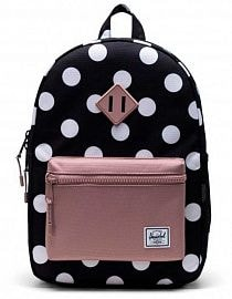 Рюкзак Herschel Heritage Youth 16l, Polka Dot Black and White/Ash Rose